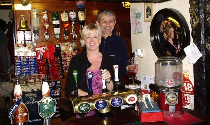 Landlord Richard Henfrey and barperson Geraldine
