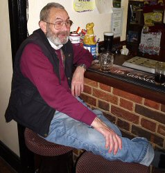 Loyal customer Les Osborne relaxing in the Carps