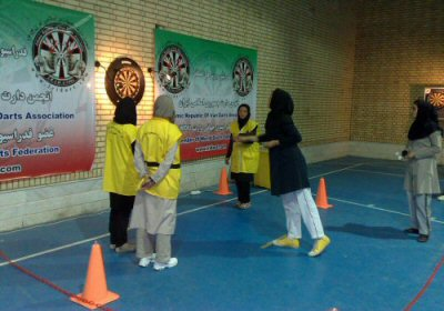 Iranian ladies darts players in action