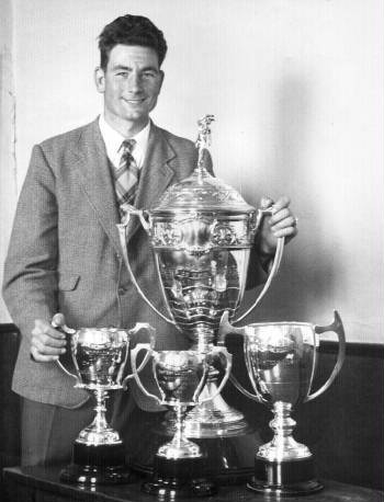 Trevor Peachey with his full set of News of the World trophies