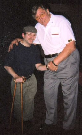 Seattle darts fanatic Glen R. Huff with the late Barry Twomlow, Vegas 2003