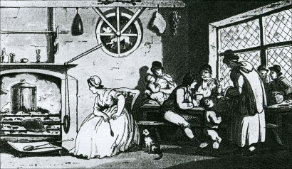 The kitchen of Country Inn, 1797 showing the Turnspit Dog