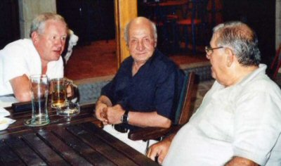 Patrick meets 'The Father of Darts in Cyprus' Stellios Elinas (centre) (Photo: Moppix)